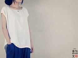 韵文原创服装设计女式纯棉简约文艺风格宽松百搭短袖t恤