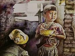 彩色圆珠笔作品《奶奶说妈妈在回家路上》关注留守儿童系列
