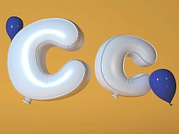 c4d气球字-教程