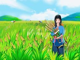 水稻产品插画