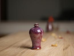 白伟锋钧瓷梅瓶 釉色沉稳雅逸、浑厚质朴、玉润透活,晶莹欲滴 构成人力不可为的绝妙奇观