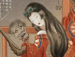 阴阳师 百鬼夜行 (络新妇,姑获鸟,猫又)水墨工笔插画