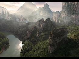 唐智临_matte painting_mountains