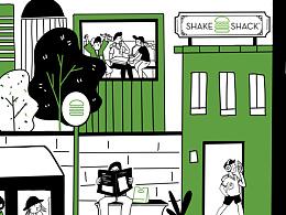 网红店shake shack boarding
