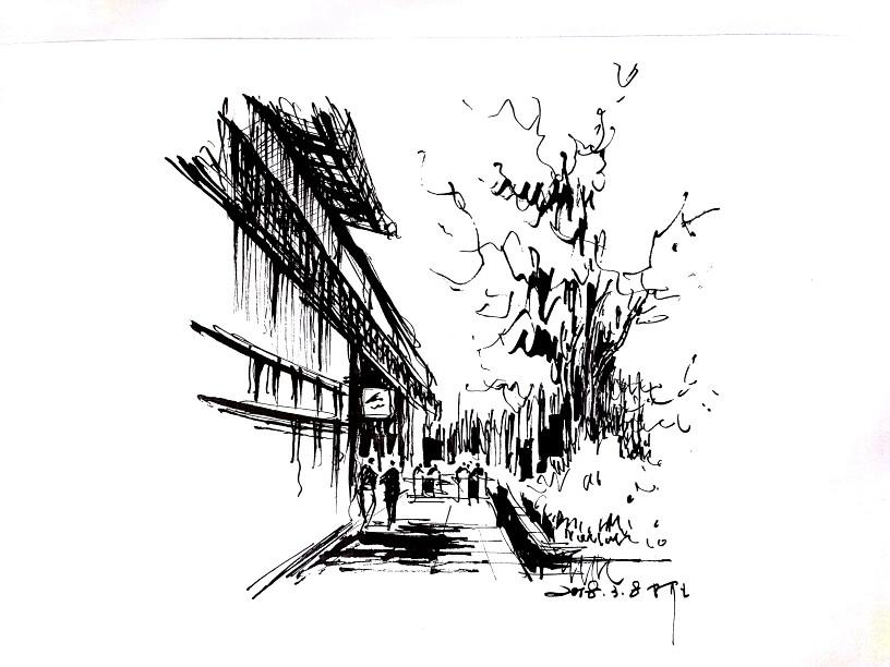 阿王速写建筑风景手绘图片