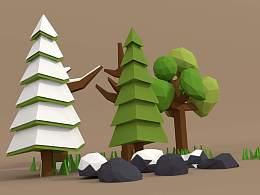Blender lowpoly 积雪小树林制作