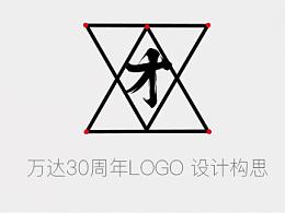 万达30周年LOGO设计理念/三十而立与三才牢固结构