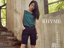 【韵文】RHYME原创服装设计女式洗水棉拼色t恤背心无袖短2013新款夏装连衣裙