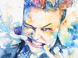 【小合集】GD权志龙的绘画过程做好啦~【水彩】白大叔手绘插画系列