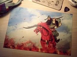 【原创插画】关羽出征图 即将'温酒斩华雄'