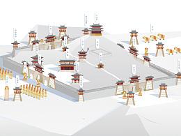 唐帝王陵石刻分布手绘图