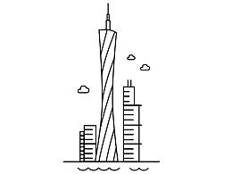 广州印象建筑 线稿   插画