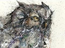 《夜鹰鸟》纸本水墨