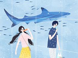 《喜欢两个人》一组情侣系列插画:这就是爱情的模样。