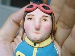 原创超轻粘土小人-飞行员