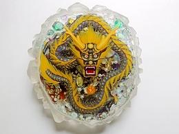 水晶里的幻彩紫金盘龙 琥珀绘(3D树脂画)