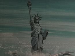 爱情主题3D立体画-高清自由女神像3D地贴爱琴海
