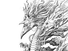 魚龍混雜線描稿