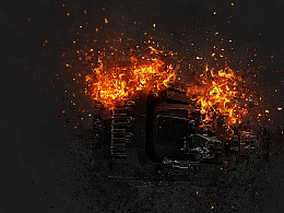 附国外特效PS动作下载_烈火灰尘人物火星灰烬火与烟雾特效PSD教程