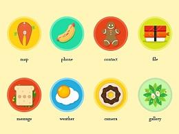 扁平食物主题图标