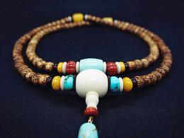 DIY松石、蜜蜡、南红配珠星月菩提手串