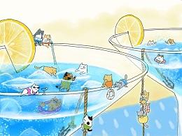 大食小猫系列插画