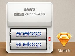 Sketch拟物习作·eneloop快速充电器&电池