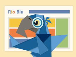 Rio 中的 Spix's Macaw Blu 折纸风格化设计