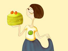 原创插画——快乐的苹果丹