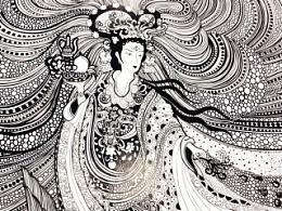 线描绘画-麻姑仙子