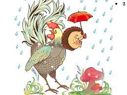 刺猬与鸡,为纸巾品牌所做的商业插画