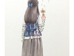 水彩森系少女步骤图