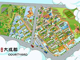 商业房地产手绘地图.设计定制小程序h5景区城市区域