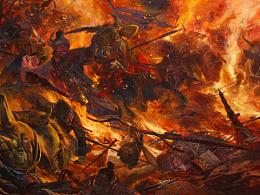油画作品《火牛陷阵》