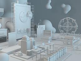 原创作品:C4D平面广告/品牌/2017年/三维建模/3D场景/电商/毕业设计-白膜/小世界大梦想
