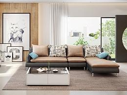 一组现代简约沙发3D设计,现代简约客厅+餐厅3D设计,淘宝家具3D效果图设计 家具设计