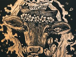 手工雕刻黑白木刻版画【鹿】