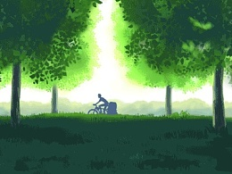 小伍单车在路上 gif动图