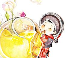 一组水彩商稿——食物小人