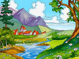 儿童插画-乡村