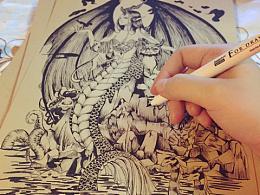 针管笔练习:梦境