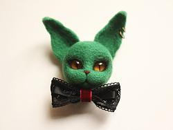 【lari手作】 羊毛毡绿猫精灵胸针 教程视频