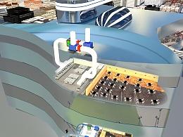 大型商场油烟处理系统3D效果图