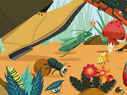 Environmental Illustration: Happy Crawlies World