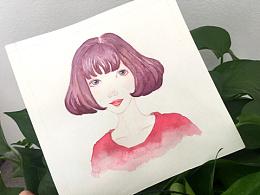 手绘水彩治愈系少女