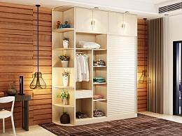 3D效果图木色衣柜