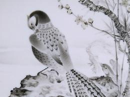 【釉上彩瓷】《桃竹锦鸡图》瓷板*一尺八