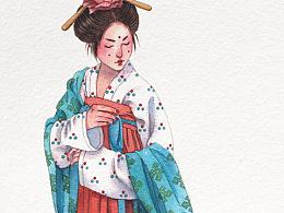 手绘水彩大唐仕女步骤图