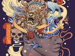 浮世绘-男-麒麟-鹤