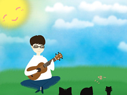 原创插图作品 《ukulele&草地》